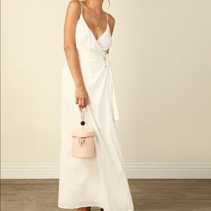 Line&Dot white polka dot wrap maxi dress NWT